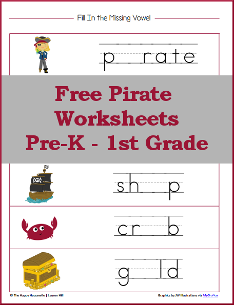 Pirate Worksheets: Free Printables - The Happy Housewife™ :: Home ...