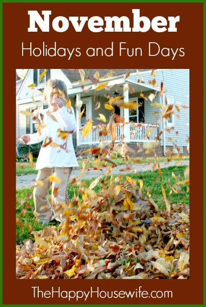 November is known for Thanksgiving, which is a great opportunity to count our blessings, give thanks, and enjoy good food and company. But November has other holidays and fun days for you to enjoy too.
