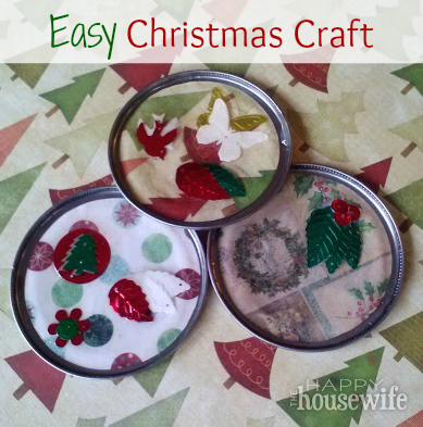 Easy Christmas Craft from Can Lids | The Happy Housewife