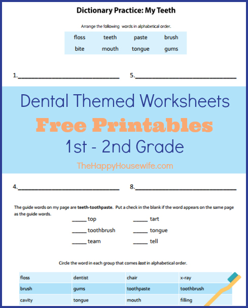 Dental-Themed Worksheets: Free Printables | The Happy Housewife