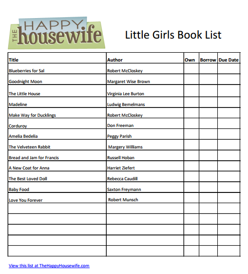 Little Girls Book List: Free Printable Friday | The Happy Housewife