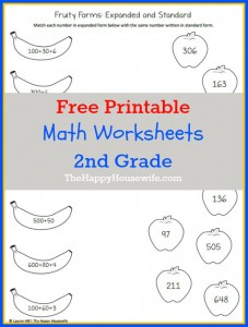 math worksheets for 2nd grade free printables the happy housewife home schooling. Black Bedroom Furniture Sets. Home Design Ideas