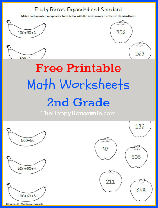 Number Names Worksheets free worksheets for 2nd grade math : Math Worksheets for 2nd Grade: Free Printables - The Happy ...