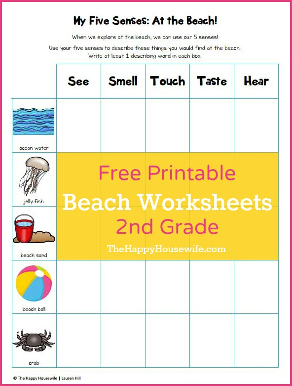 Beach Theme Worksheets Printable on 5 senses preschool printables