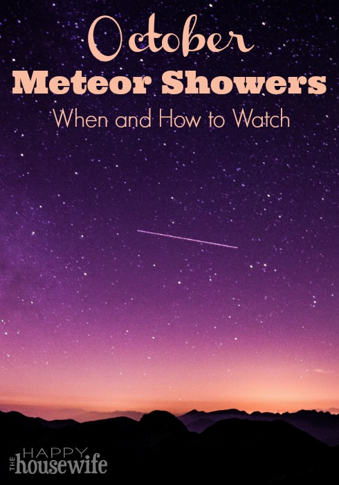 When and how to watch October meteor showers. Both the Draconid and Orionid meteor showers are in view during October. Found at The Happy Housewife